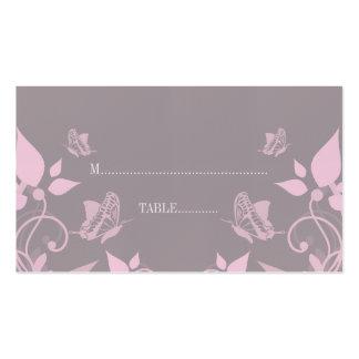 Tarjeta floral del lugar de la mariposa rosada tarjeta de visita