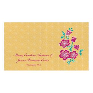 Tarjeta floral del lugar del boda del batik de tarjetas de visita