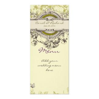 """Tarjeta floral del menú del boda del vintage verde invitación 4"""" x 9.25"""""""