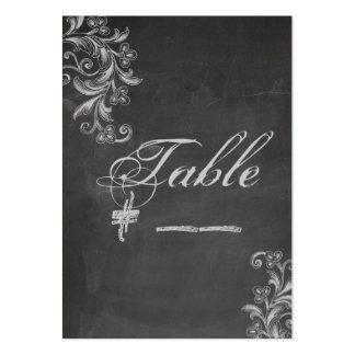 Tarjeta floral del número de la tabla de la pizarr plantilla de tarjeta personal