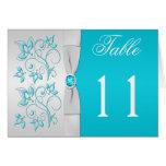 Tarjeta floral del número de la tabla de la plata