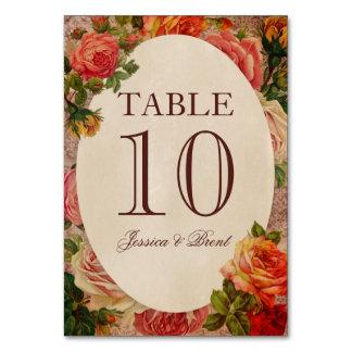 Tarjeta floral del número de la tabla de los rosas