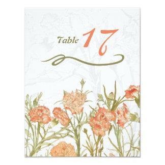 Tarjeta floral del número de la tabla del clavel invitación 10,8 x 13,9 cm