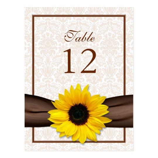 Tarjeta floral del número de la tabla del damasco tarjeta postal