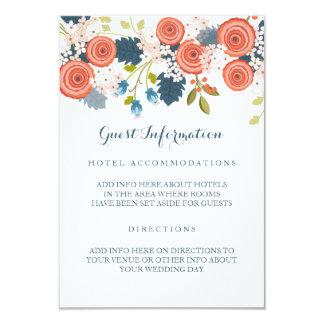 Tarjeta floral del parte movible de la huésped invitación 8,9 x 12,7 cm