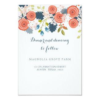 """Tarjeta floral del parte movible de la recepción invitación 3.5"""" x 5"""""""