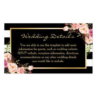 Tarjeta floral del parte movible del boda de las tarjetas de visita