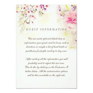 """Tarjeta floral del parte movible del boda del invitación 4.5"""" x 6.25"""""""