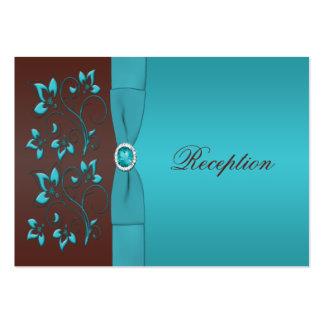 Tarjeta floral del recinto de la turquesa y de tarjetas de visita grandes