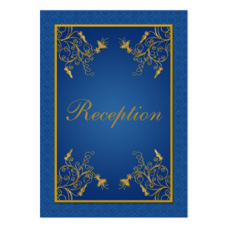 Tarjeta floral del recinto del damasco del azul y