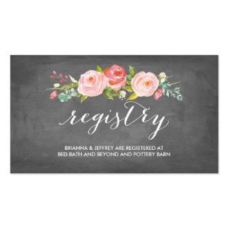 Tarjeta floral del registro del boda de la tarjetas de visita