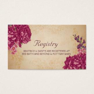 Tarjeta floral del registro del boda del arbolado tarjetas de visita