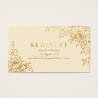 Tarjeta floral del registro del boda del oro tarjetas de visita