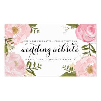 Tarjeta floral del Web site del boda del rosa Tarjetas De Visita