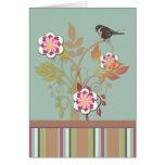 Tarjeta floral estilizada del pájaro