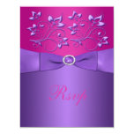 Tarjeta floral fucsia púrpura IMPRESA de RSVP de Invitación 10,8 X 13,9 Cm
