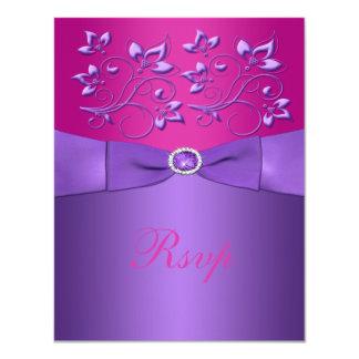 Tarjeta floral fucsia púrpura IMPRESA de RSVP de Invitaciones Personalizada