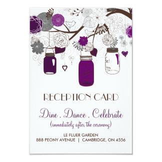 """Tarjeta floral gris y púrpura de la recepción de invitación 3.5"""" x 5"""""""