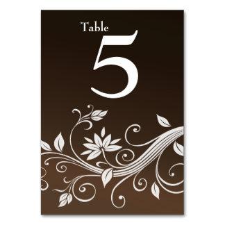 Tarjeta floral marrón banal del número de la tabla