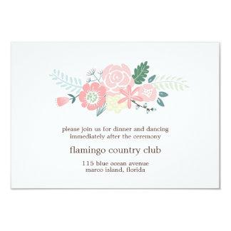 Tarjeta floral moderna de la recepción nupcial invitación 8,9 x 12,7 cm