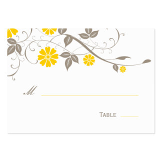 Tarjeta floral moderna del lugar - mostaza tarjeta personal