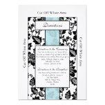 Tarjeta floral negra/azul de las direcciones del invitacion personal
