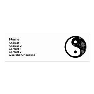 Tarjeta floral negra del perfil de Yin Yang Tarjetas De Visita