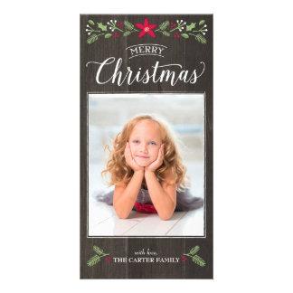 Tarjeta floral popular de la foto del navidad tarjetas con fotos personalizadas