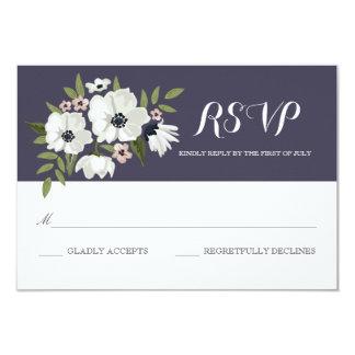 """Tarjeta floral preciosa de RSVP - púrpura Invitación 3.5"""" X 5"""""""