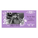 Tarjeta floral púrpura de la foto tarjetas fotograficas personalizadas