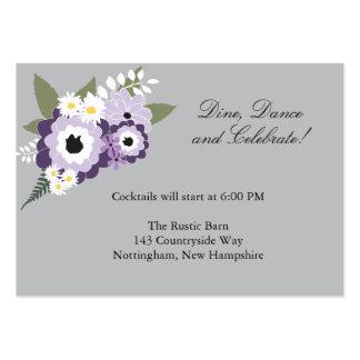 Tarjeta floral púrpura de la recepción del | tarjeta de visita