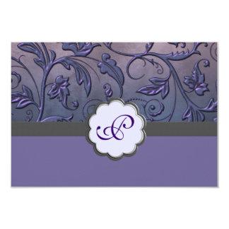 """Tarjeta floral púrpura de la respuesta del invitación 3.5"""" x 5"""""""