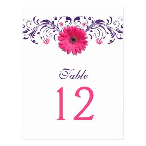 Tarjeta floral púrpura del número de la tabla de l tarjetas postales