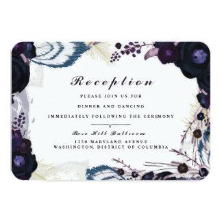"""Tarjeta floral púrpura elegante de la recepción invitación 3.5"""" x 5"""""""