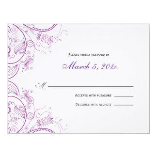 """Tarjeta floral púrpura elegante de la respuesta invitación 4.25"""" x 5.5"""""""