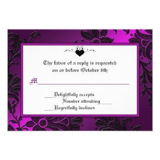 Tarjeta floral púrpura negra y blanca gótica de comunicado