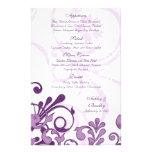 Tarjeta floral púrpura y blanca del menú del boda