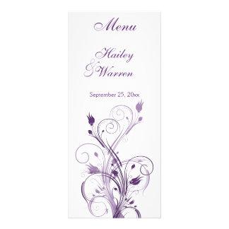 Tarjeta floral púrpura y blanca del menú tarjeta publicitaria personalizada