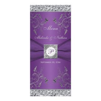 Tarjeta floral púrpura y de plata del monograma de
