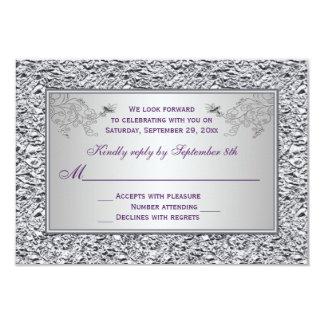 """Tarjeta floral púrpura y FALSA II de RSVP de la Invitación 3.5"""" X 5"""""""