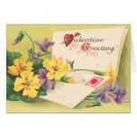 Tarjeta floral retra del el día de San Valentín
