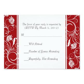 """Tarjeta floral roja de los remolinos del boda de invitación 5"""" x 7"""""""