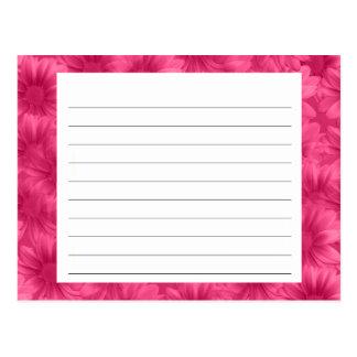 Tarjeta floral rosada de la receta tarjeta postal