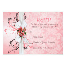"""Tarjeta floral rosada elegante de RSVP del damasco Invitación 5"""" X 7"""""""
