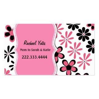 Tarjeta floral rosada y negra elegante de la mamá tarjetas de visita