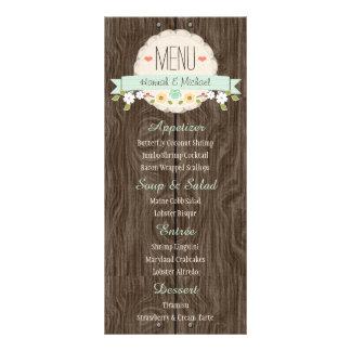 Tarjeta floral rústica del menú del boda de la lonas