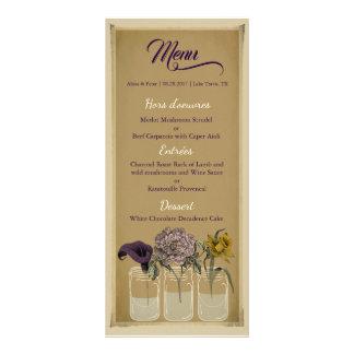 Tarjeta floral rústica del menú del boda del tarro tarjeta publicitaria personalizada