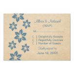 Tarjeta floral tropical azul de la respuesta invitación 8,9 x 12,7 cm
