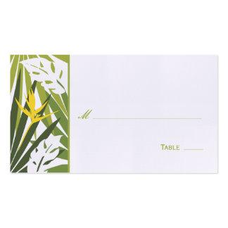 Tarjeta floral tropical del lugar - verde y amaril plantilla de tarjeta de negocio