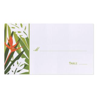 Tarjeta floral tropical del lugar - verde y naranj plantilla de tarjeta de negocio